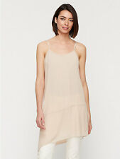 NWT Eileen Fisher Asymmetrical Long V-Neck Cami Sheer Silk Georgette $228 – M