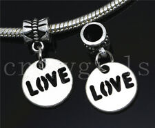 6/30/100pcs Tibetan Silver Circular LOVE Bulk Dangle European Charms Bracelet