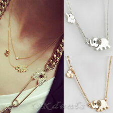 New Elephant Family Stroll Design Stylish Women Charming Crystal Chain Necklace