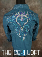 Mens HOUSE OF LORDS Button Shirt TEAL Tribal Embroidery Stones Roar with Class