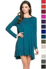 TRAPEZE KNIT TUNIC TOP RUFFLED KNIT FLOWY MINI DRESS  LONG SLEEVE S M L