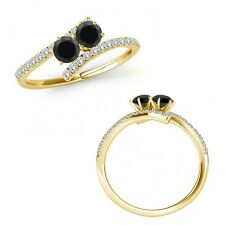1 Carat Black Diamond Two Stone By Pass Eternity Engagement Ring 14K Yellow Gold