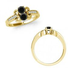 0.5 Carat Black Diamond Two Stone Fancy Flower Filigree Ring 14K Yellow Gold