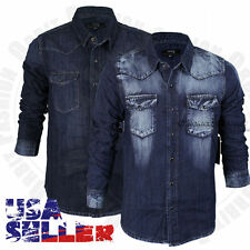 Mens Button Down Casual Denim Shirts Wash Slim Fit Long Sleeve Casual Tops S-2XL