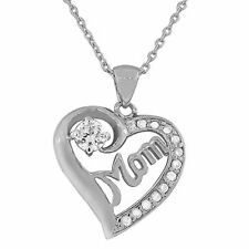 925 Sterling Silver Love Heart Mom Mother White CZ Pendant Necklace