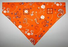 Clemson Univ. Tigers Dog Bandana Scarf–Slide over Collar–Size Small to XLarge