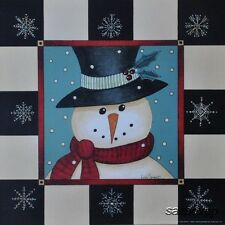 "LS775 Frosty Snowman Linda Spivey 10""x10"" framed or unframed print art"