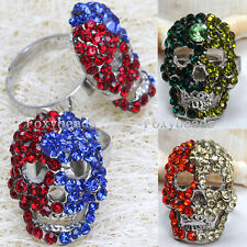 1X Adjustable Mixed Colors Crystal Cool Skull Head Finger Ring us7 Mens Womens