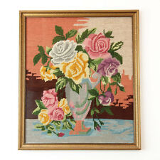 Shabby Vintage Chic Rose Framed Needlepoint Wall Art Decor Floral Tapestry