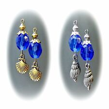 Earrings, Sapphire Blue and sea shell charm, gold or silver, clip on or pierced
