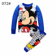 Baby Toddler kids boys Long Sleeve Sleepwear Mickey Blue Pajamas set  Size 2-7T