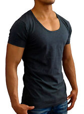 NEW MENS PLAIN CHARCOAL DEEP SCOOP NECK T-SHIRT BLANK SLIM FIT S - 3XL GYM