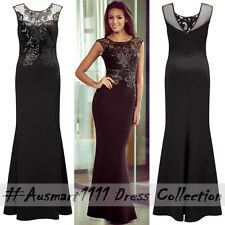 Sexy Sleeveless Lace Sequin Mermaid Maxi Formal Party Gown Evening Long Dress