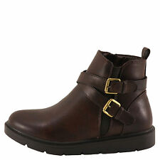 Wanted North Brown Women's Double Buckle Flat Platform Bootie 854237