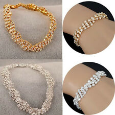 New Fashion Beauty Women Gold Silver Crystal Chain Simple Bracelet Charm Jewelry
