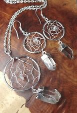Dream Catcher Necklace and Earring Set - Quartz Crystal Point Pendant / Earrings