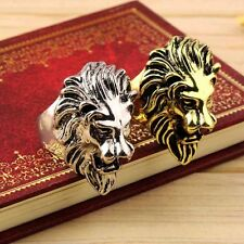 Stainless Steel New Lion Head Ring Men's Vintage Cool Ring American Size 8-10 TH