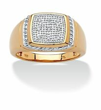 PalmBeach Jewelry Men's Diamond Accent 18k Gold over .925 Sterling Silver Ring
