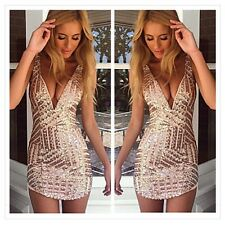 Sexy Women V-Neck Casual Sleeveless Party Club Evening Cocktail Short Mini Dress