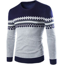 New Casual Sweater O-Neck Letter Print Slim Fit Knitting Mens Sweaters Pullovers