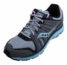 Saucony Grid Flex Girls Youth Grey/Black/Teal Leather Running Sneakers