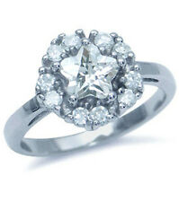 Cubic Zirconia Star Cut Sparkling Sterling Silver Ring