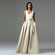 Champagne Long Satin Party Skirts Womens Ladies Prom Dress Skirt
