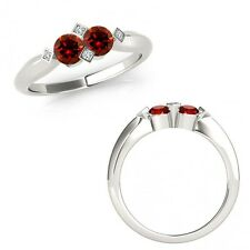 1 Carat Red Diamond 2 Two Stone Fancy Solitaire Wedding Ring 14K White Gold