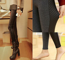 Newest Women Sexy Thicken Faux PU Leather Cotton Splice Style Leggings Pants