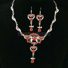 Fashion Wedding Prom Women Crystal Jewelry Set Necklace Earring Pendant Set
