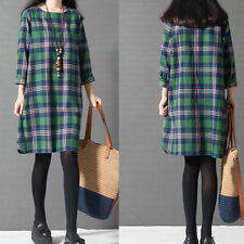 Long Sleeve Casual Plaid  Party Shirt Dress Women Autumn Tops Dress Fashion Plus