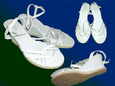 white Canvas Sandals Strappy Ankle-strap sandal with Wedge Heel Sizes 5-7,5 NEW
