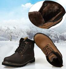 Mens Ankle Boots Warm Fur snow hiking casual Military Shoes black brown winter
