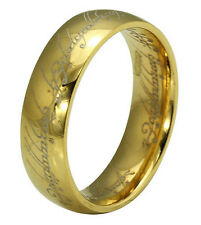 Cool Titanium Stainless Steel Ring Wedding LOTR Lord of Rings Gold Plated 6-15