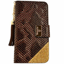 Luxury Snake Skin PU Leather Flip Wallet Purse Case BROWN for iPhone 6 6S Plus