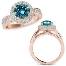 1 Carat Blue Diamond Double Round Halo Anniversary Fancy Ring 14K Rose Gold