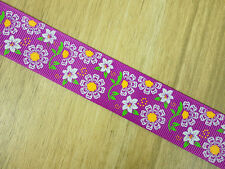 "1"" Spring Day White Flowers Violet Grosgrain Ribbon Bows HairBows Craft Supplies"