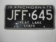 1979 MICHIGAN STATE LICENSE PLATE JFF-645 FORD CHEVY PONTIAC DODGE GREAT LAKE