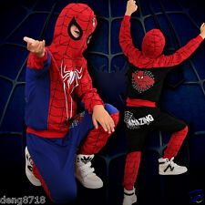 Boys Spider-man Sweatshirt+Pants Set Casual Sports Outfits Hoodie Kids Clothes