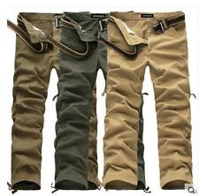 Fashion mens casual cargo overalls work cotton hiking straight pants trousers #