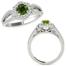 1 Carat Green Diamond Fancy Love Knot Halo Wedding Band Ring 14K White Gold