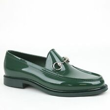 New Gucci Mens Rubber Loafer Shoes w/Horsebit Detail Green 274962 3020