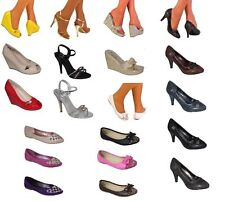 LADIES SHOE SALE evening sandals flats court shoes silver gold  pink black navy