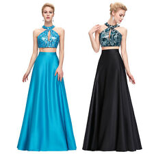 Two Piece Ball Gown Long Prom Dress Sequined Bridesmaid Evening Homecoming Dress