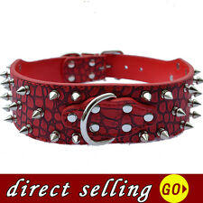 Pet Dog Collar Large 2'' Wide Croc Leather Spiked Collar For Pitbulls Brown Red