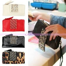 Fashion Womens PU Leather Handbag Rivet Clutch Coin Purse Card Bag Wallet Pouch