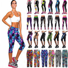Womens 3D Printed YOGA Sports Gym Pants Fitness Trousers Running Jogger Leggings