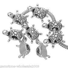 Wholesale Lots Silver Tone Turtle Charms Beads Fit Charm Bracelet 19x13mm