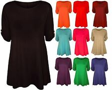 Womens Ladies Button Short Turn Up Sleeves Flared Swing Dress Top Size 8-26