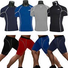 Mens Compression Armour Base Under Layer Shirt Top Shorts Thermal Gym Sport Wear